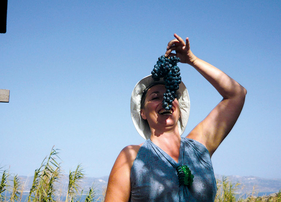 Grape harvest on the little house above Lefkes